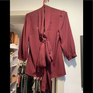 Burgundy pussy bow blouse